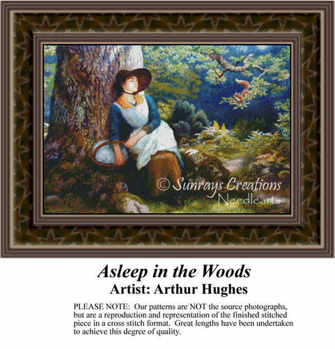 Asleep in the Woods, Fine Art Counted Cross Stitch Pattern, Women Counted Cross Stitch Pattern