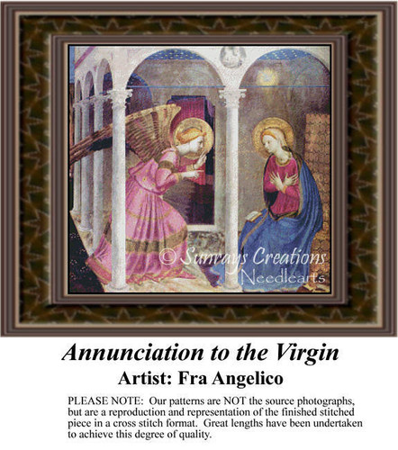 Annunciation to the Virgin, Angel Counted Cross Stitch Pattern