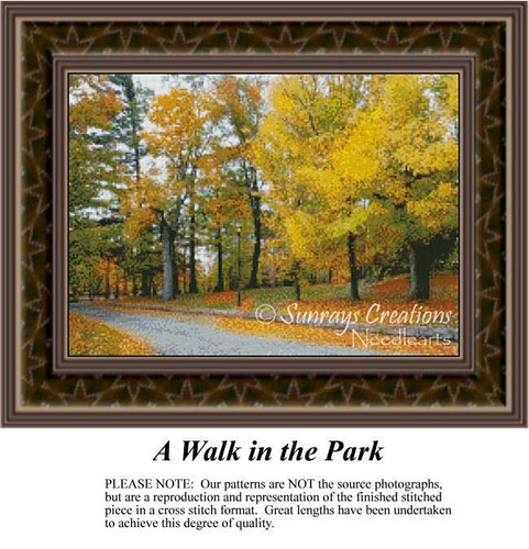 A Walk in the Park, Alluring Landscapes Counted Cross Stitch Pattern