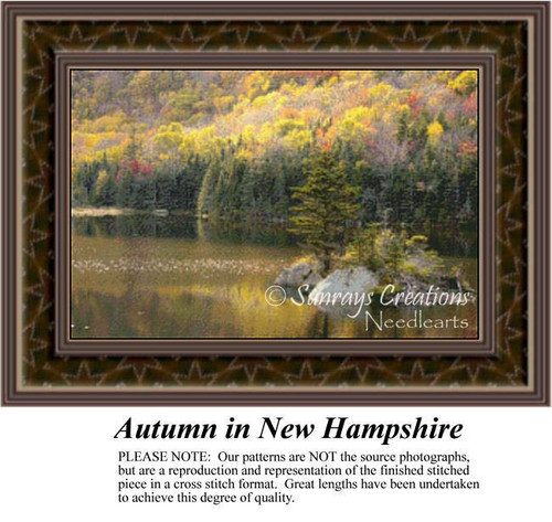 Autumn in New Hampshire, Alluring Landscapes Counted Cross Stitch Pattern, Fall Counted Cross Stitch Pattern