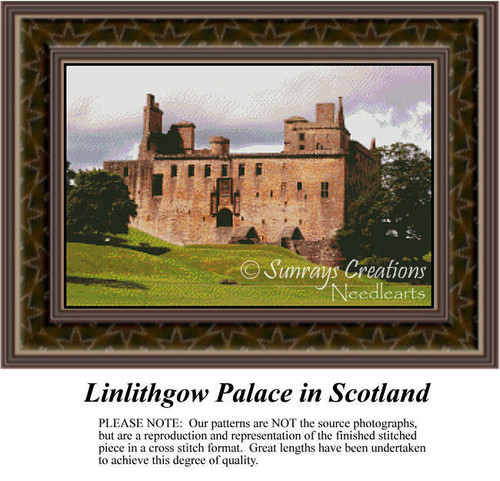 Linlithgow Palace in Scotland, Architecture Counted Cross Stitch Pattern