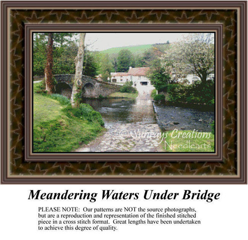 Meandering Waters Under Bridge, Landscapes Counted Cross Stitch Pattern, Waterscapes Counted Cross Stitch Patterns