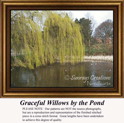 Graceful Willows by the Pond, Trees Counted Cross Stitch Pattern