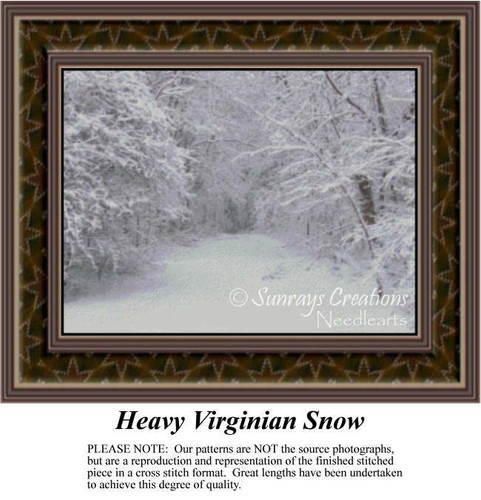 Heavy Virginian Snow, Landscapes Counted Cross Stitch Pattern, Winter Counted Cross Stitch Patterns