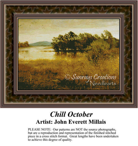 Chill October, Fine Art Counted Cross Stitch Pattern, Alluring Landscapes Counted Cross Stitch Pattern