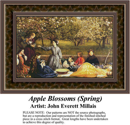 Apple Blossoms (Spring), Fine Art Counted Cross Stitch Pattern, Spring Counted Cross Stitch Pattern, Social Counted Cross Stitch Pattern