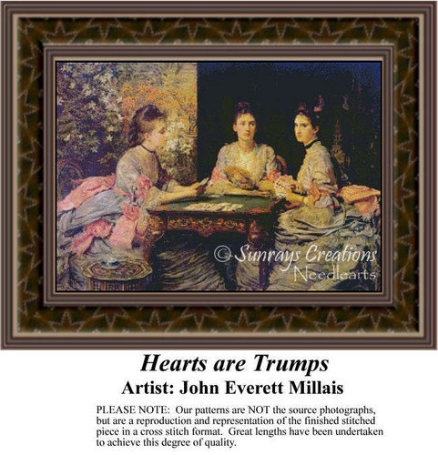Hearts are Trumps, Fine Art Counted Cross Stitch Pattern, Social Counted Cross Stitch Pattern