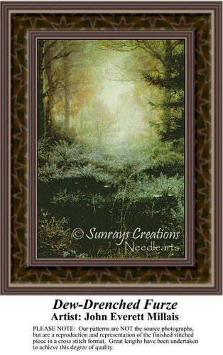 Dew-Drenched Furze, Fine Art Counted Cross Stitch Pattern, Alluring Landscapes Counted Cross Stitch Pattern