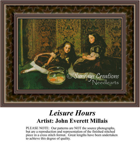 Leisure Hours, Fine Art Counted Cross Stitch Pattern, Children Counted Cross Stitch Pattern