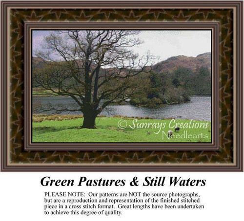 Green Pastures & Still Waters, Landscapes Counted Cross Stitch Pattern, Waterscapes Counted Cross Stitch Patterns