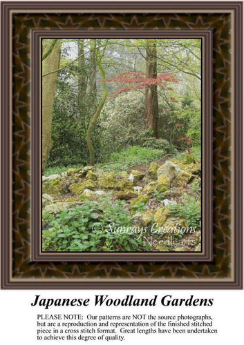 Japanese Woodland Garden, Landscapes Counted Cross Stitch Pattern