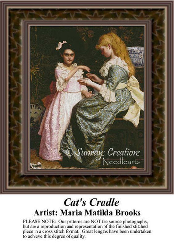Cat's Cradle, Fine Art Counted Cross Stitch Pattern, Children Counted Cross Stitch Pattern
