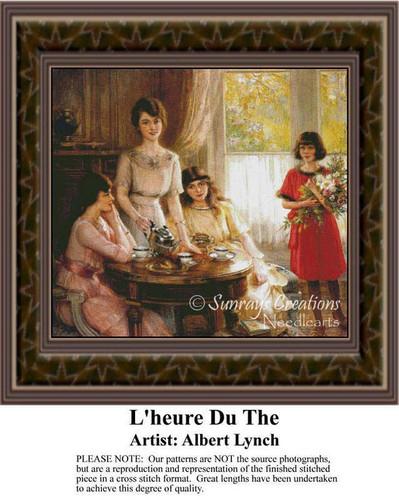 L'heure Du The, Fine Art Counted Cross Stitch Pattern, Social Counted Cross Stitch Pattern