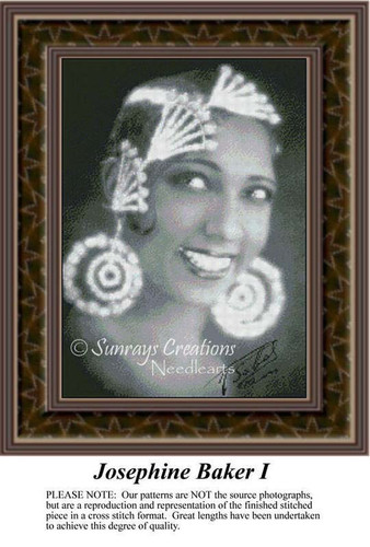 Josephine Baker I, Sepia Counted Cross Stitch Pattern