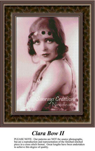 Clara Bow, II, Sepia Counted Cross Stitch Pattern