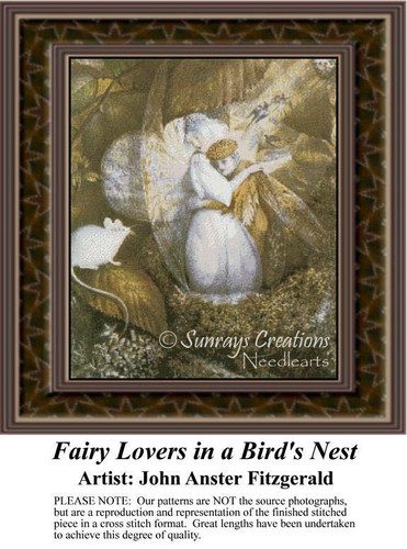Fairy Lovers in a Bird's Nest, Fantasy Counted Cross Stitch Pattern