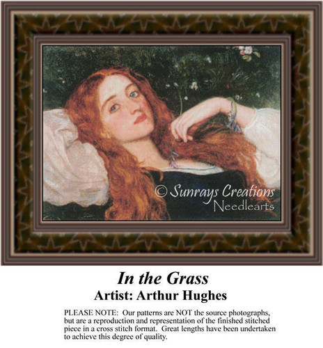 In the Grass, Fine Art Counted Cross Stitch Pattern, Women Counted Cross Stitch Pattern