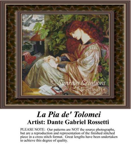 La Pia de' Tolomei, Fine Art Counted Cross Stitch Pattern, Women Counted Cross Stitch Pattern
