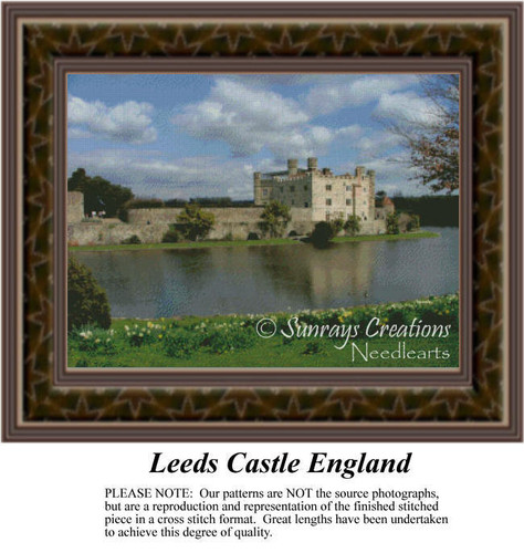Leeds Castle, England, Landscapes Counted Cross Stitch Pattern