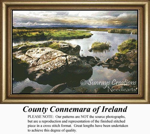 County Connemara of Ireland Cross Stitch Pattern, one of the most beautiful, unspoiled places one can find. Long regarded as the real emerald of Ireland.