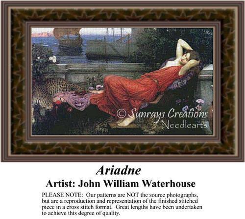 Ariadne, Fine Art Counted Cross Stitch Pattern, Women Counted Cross Stitch Pattern