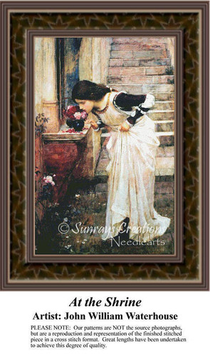 At the Shrine, Fine Art Counted Cross Stitch Pattern, Women Counted Cross Stitch Pattern