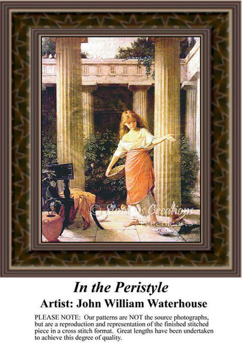 In the Peristyle, Fine Art Counted Cross Stitch Pattern, Children Counted Cross Stitch Pattern