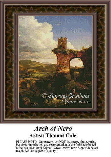 Arch of Nero, Architecture Counted Cross Stitch Pattern, Fine Art Counted Cross Stitch Pattern