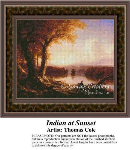 Indian at Sunset, Fine Art Counted Cross Stitch Pattern, Alluring Landscapes Counted Cross Stitch Patterns