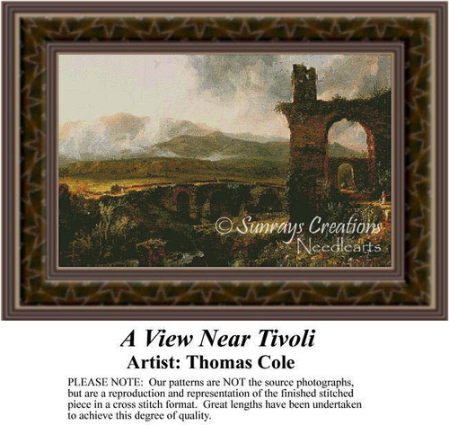 A View Near Tivoli, Fine Art Counted Cross Stitch Pattern, Alluring Landscapes Counted Cross Stitch Pattern