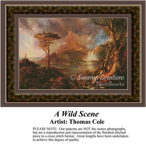 A Wild Scene, Fine Art Counted Cross Stitch Pattern, Alluring Landscapes Counted Cross Stitch Pattern