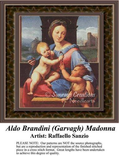 Aldo Brandini (Garvagh) Madonna, Fine Art Counted Cross Stitch Pattern, Family Counted Cross Stitch Pattern