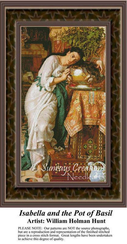 Isabella and the Pot of Basil, Fine Art Counted Cross Stitch Pattern, Women Counted Cross Stitch Pattern