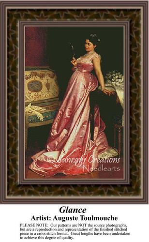 Glance, Fine Art Counted Cross Stitch Pattern, Women Counted Cross Stitch Pattern