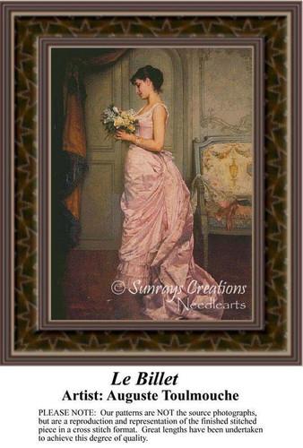 Le Billet, Fine Art Counted Cross Stitch Pattern, Women Counted Cross Stitch Pattern