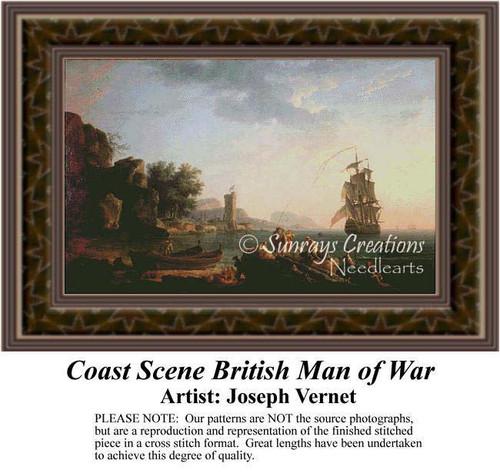 Coast Scene British Man of War, Fine Art Counted Cross Stitch Pattern, Waterscapes Counted Cross Stitch Patterns