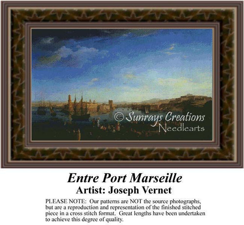 Entre Port Marseille, Fine Art Counted Cross Stitch Pattern, Alluring Landscapes Counted Cross Stitch Pattern