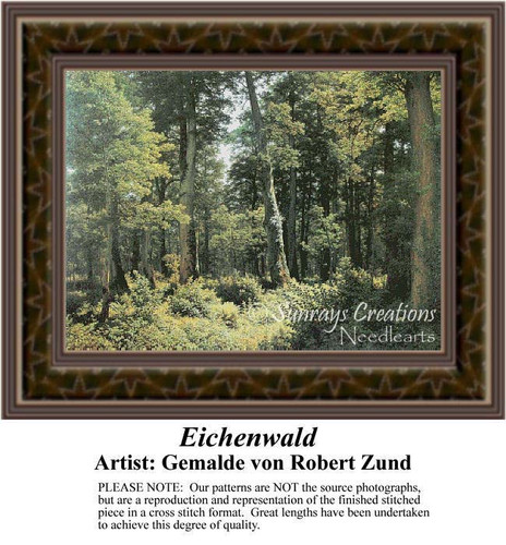 Eichenwald, Fine Art Counted Cross Stitch Pattern, Alluring Landscapes Counted Cross Stitch Pattern