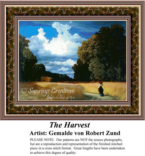 The Harvest, Fine Art Counted Cross Stitch Pattern, Alluring Landscapes Counted Cross Stitch Pattern