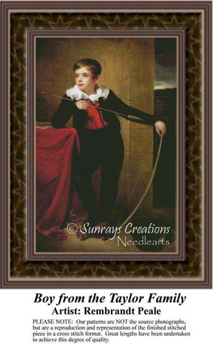 Boy from the Taylor Family, Fine Art Counted Cross Stitch Pattern, Children Counted Cross Stitch Pattern
