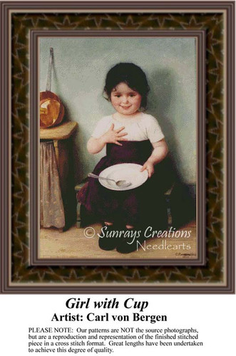 Girl with Cup, Fine Art Counted Cross Stitch Pattern, Children Counted Cross Stitch Pattern