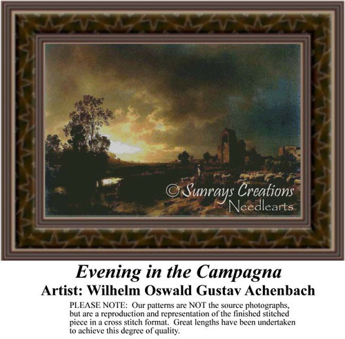 Evening in the Campagna, Fine Art Counted Cross Stitch Pattern, Alluring Landscapes Counted Cross Stitch Pattern