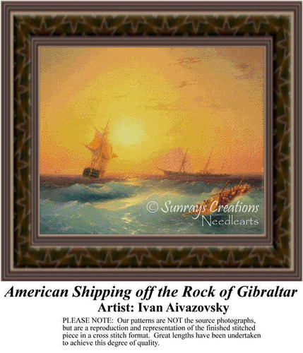 American Shipping Off the Rock of Gibraltar, Waterscapes Counted Cross Stitch Pattern, Fine Art Counted Cross Stitch Pattern