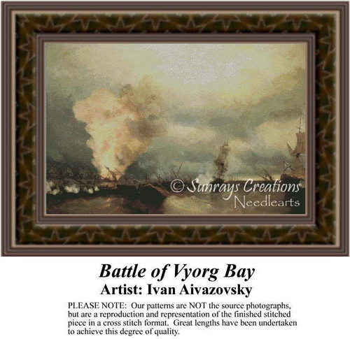 Battle of Vyorg Bay, Famous Battles Counted Cross Stitch Pattern, Fine Art Counted Cross Stitch Pattern