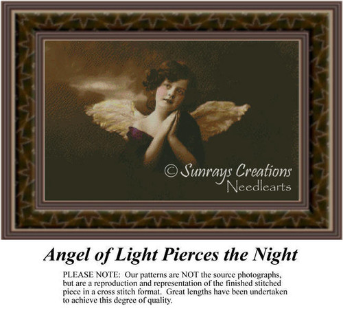 Angel of Light Pierces the Night, Angel Counted Cross Stitch Pattern