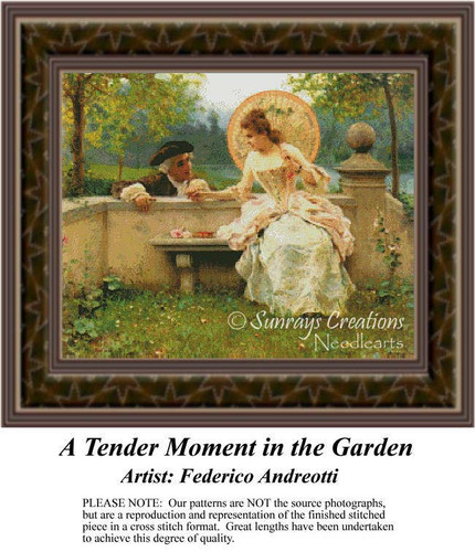 A Tender Moment in the Garden, Romance Counted Cross Stitch Pattern, Fine Art Counted Cross Stitch Pattern