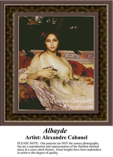 Albayde, Fine Art Counted Cross Stitch Pattern, Women Counted Cross Stitch Pattern