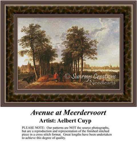 Avenue at Meerdervoort, Fine Art Counted Cross Stitch Pattern, Alluring Landscapes Counted Cross Stitch Pattern
