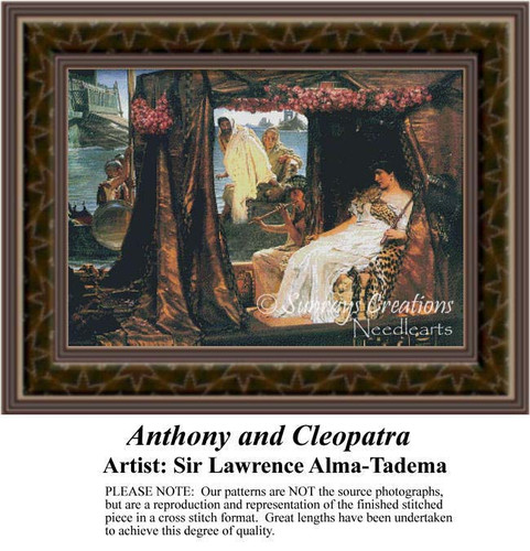 Anthony and Cleopatra, Fine Art Counted Cross Stitch Pattern, Romance Counted Cross Stitch Pattern