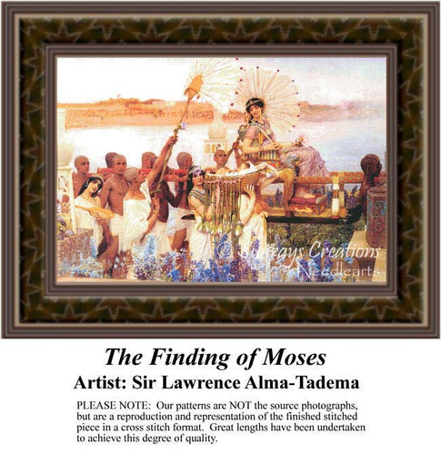 The Finding of Moses, Fine Art Counted Cross Stitch Pattern, Social Counted Cross Stitch Pattern